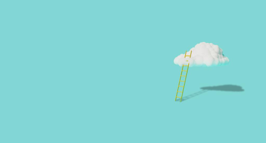 escada que termina em uma nuvem, simbolizando ludicamente as estratégias SEO para alcançar a primeira posição do Google